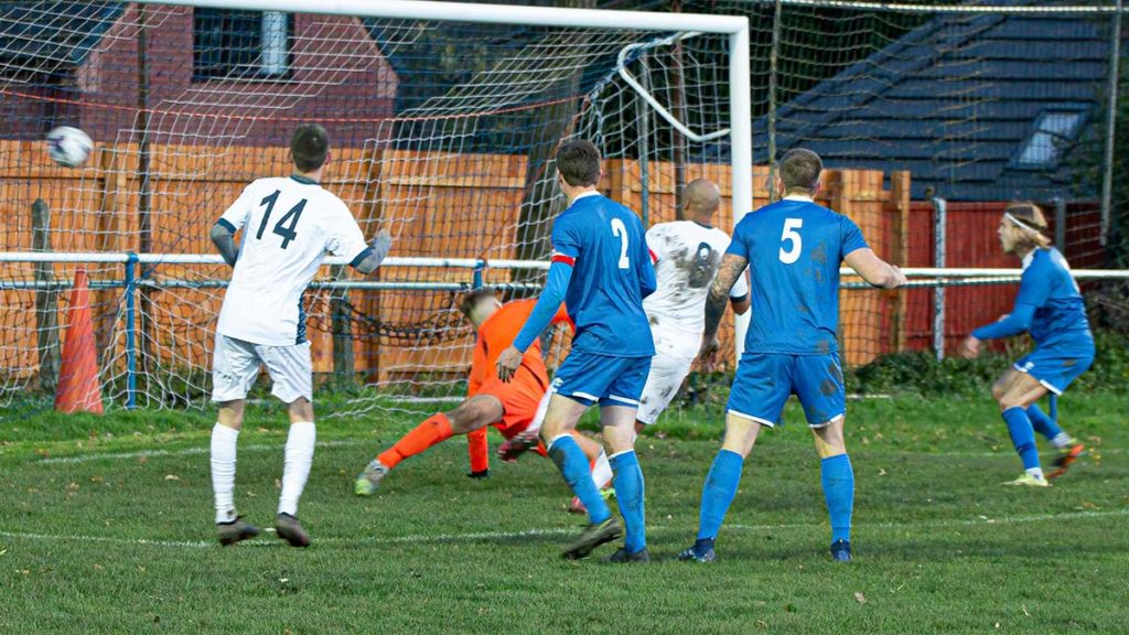 Kyle Patterson scores for Lichfield City against Heath Hayes