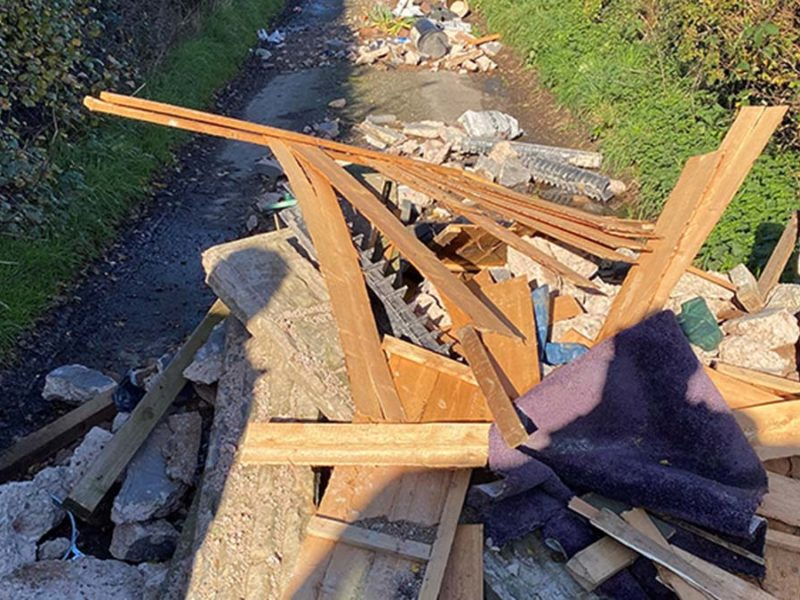 Waste dumped on Thornyhurst Lane in Stonnall