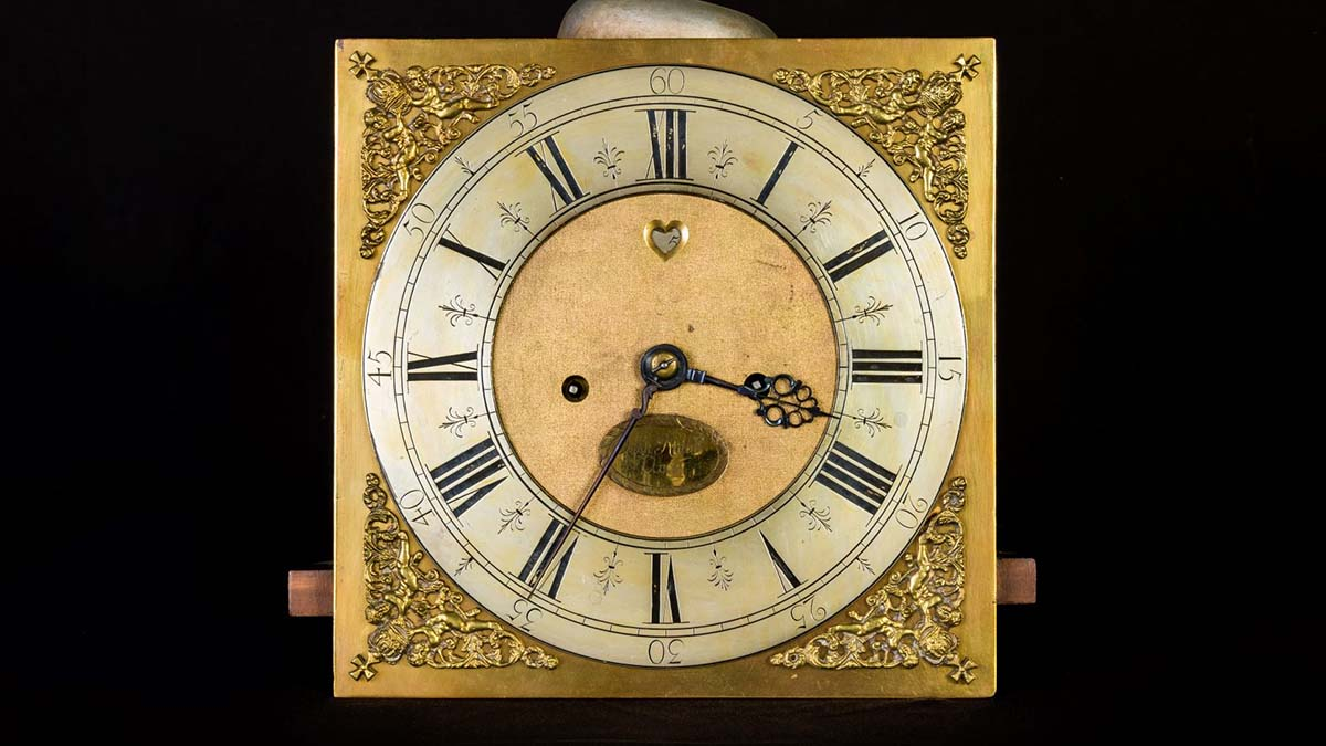 One of the clocks being sold at auction in Lichfield