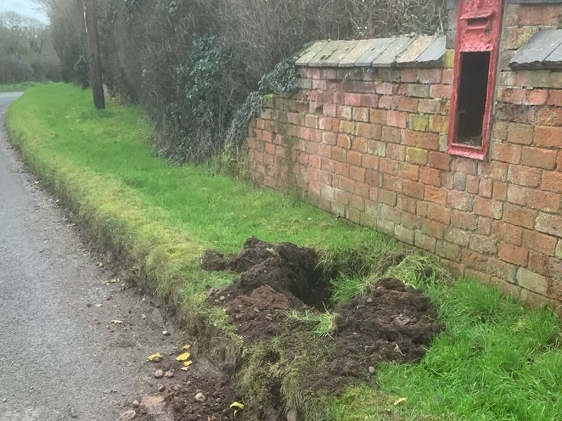 The site where the Woodmill post box was dug out of the ground