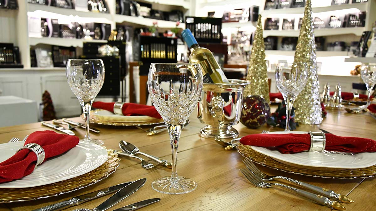 A Christmas table at the Arthur Price shop