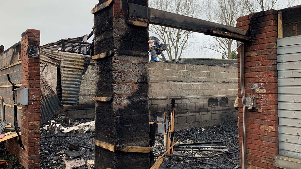 The fire-damaged building at Drayton Manor. Picture: Drayton Manor