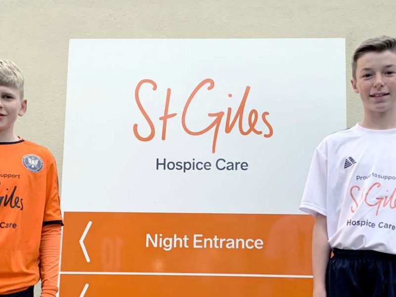 Harry Crooks and Lucas Thompson in their new St Giles Hospice branded kits