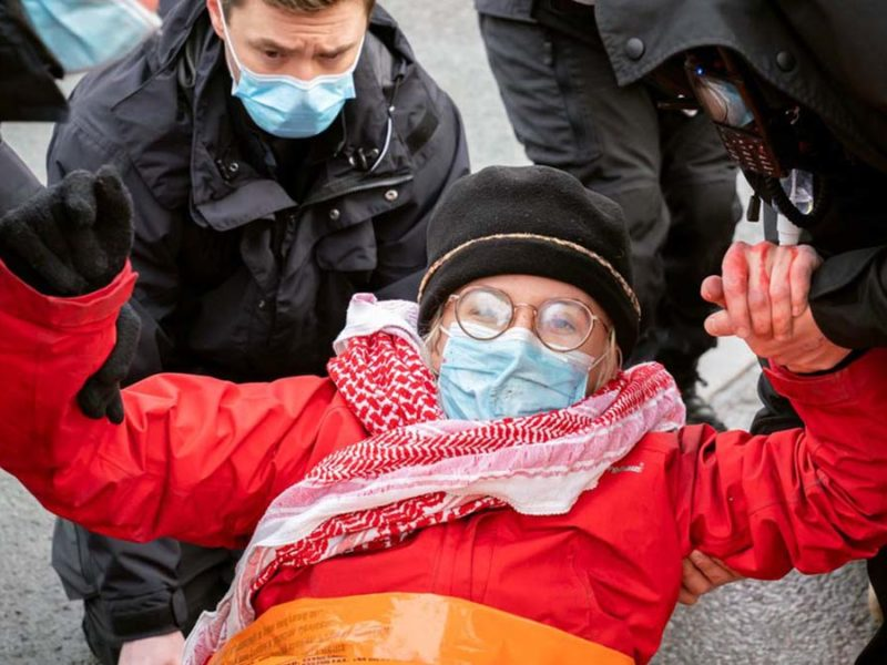 A protestor being removed by police. Picture: Palestine Action