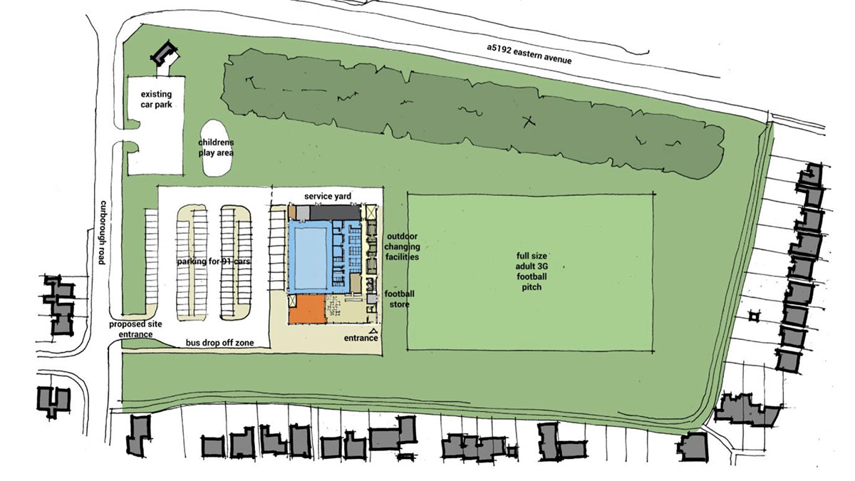 A plan of the new leisure centre layout at Stychbrook Park