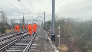 Engineers at the site of the landslip