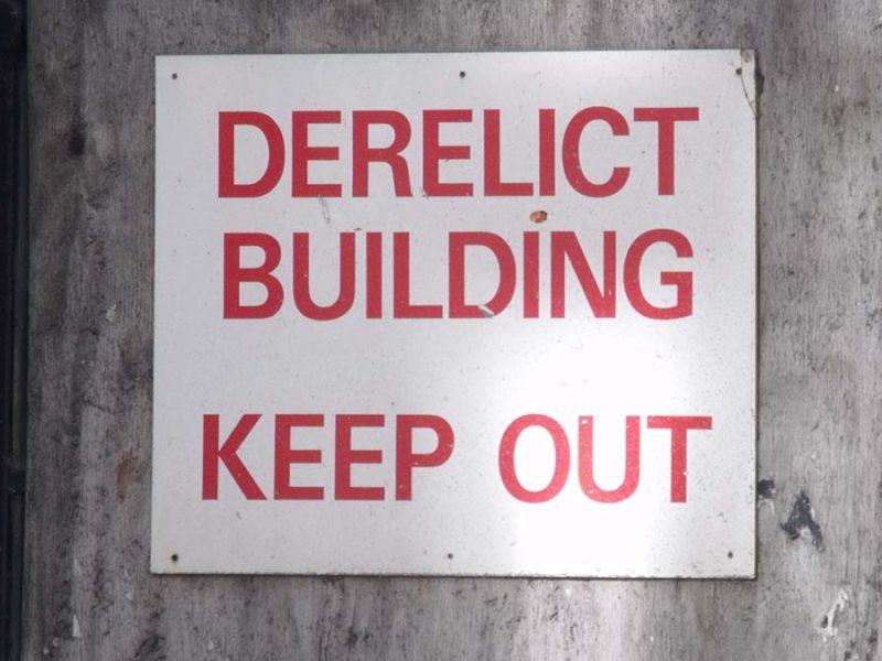 Derelict building sign. Picture: Elliott Brown