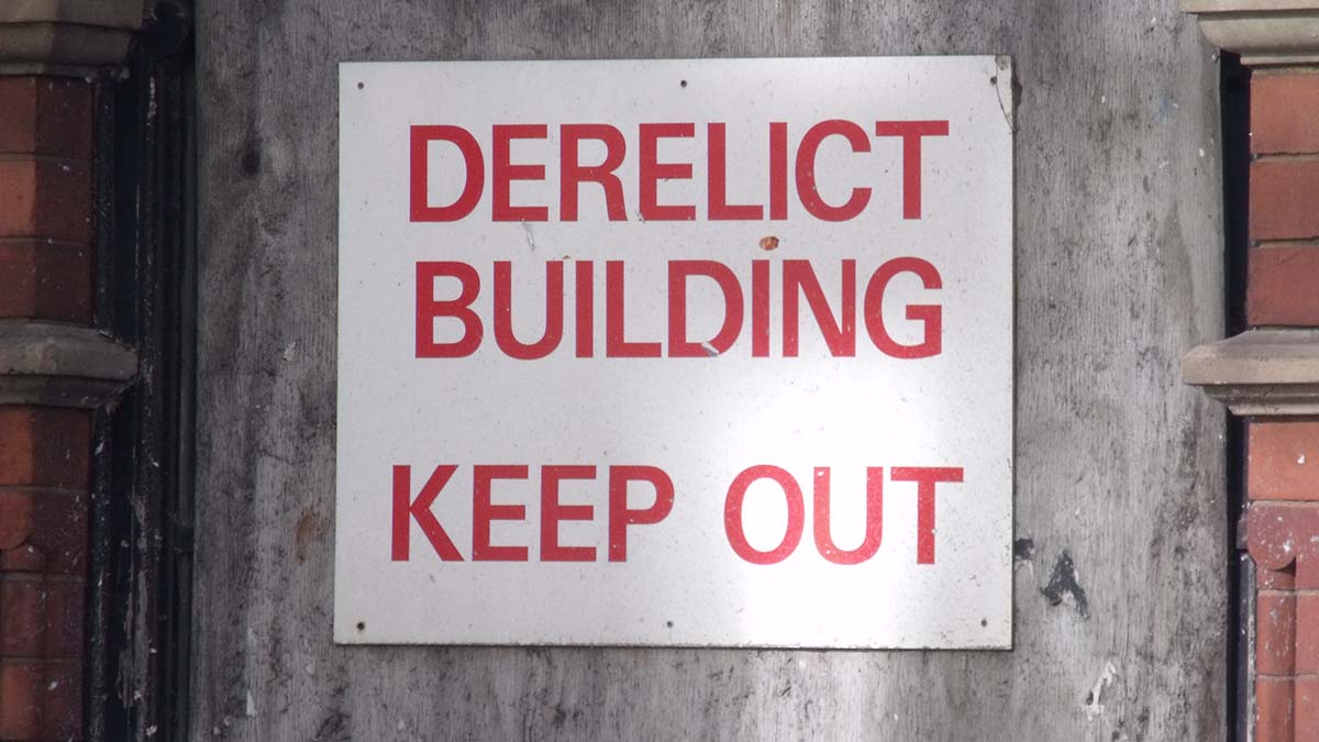 Derelict building sign. Picture: Elliott Brown