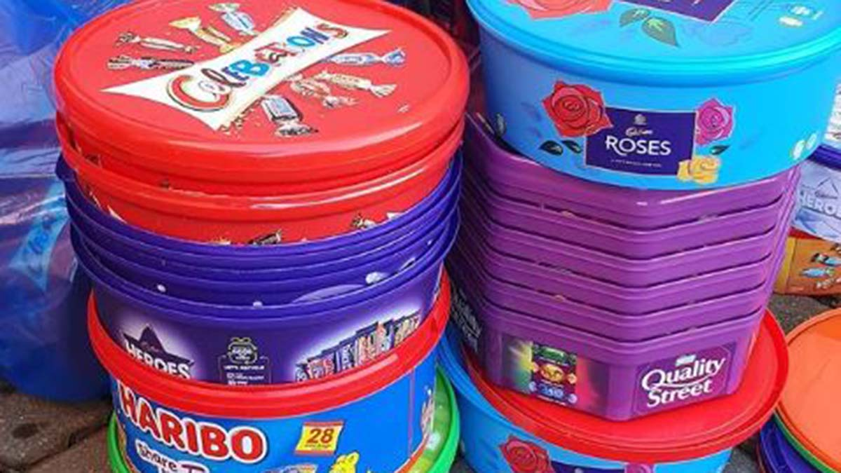 Some of the sweet tubs collected by runners
