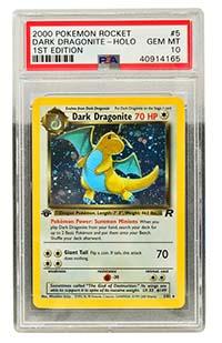 A graded Dark Dragonite card