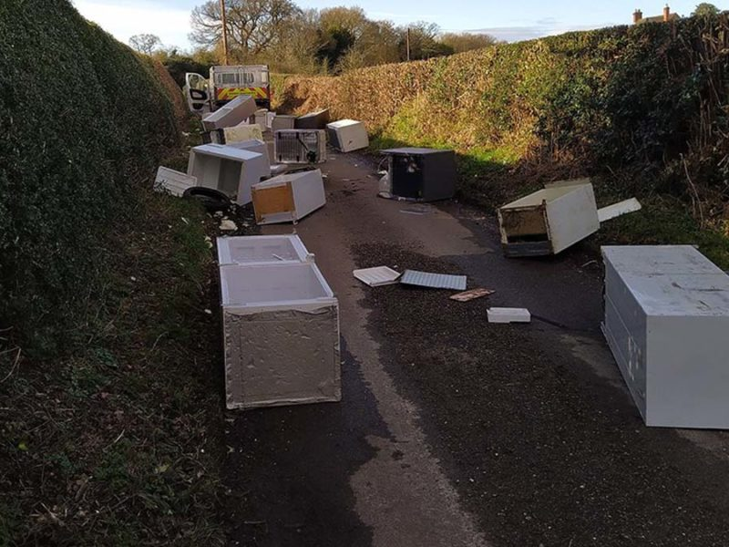 The fridge-freezers dumped in Chorley. Picture: Lichfield District Council