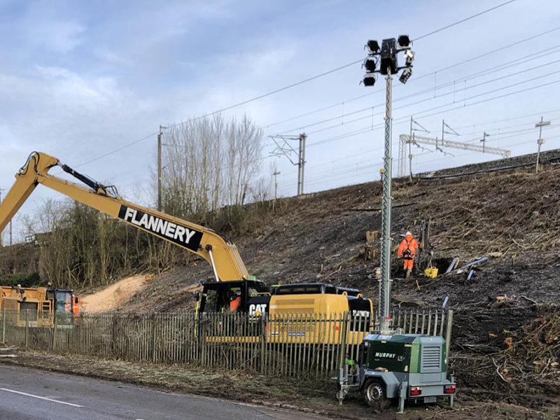 Network Rail engineers repairing the landslip on the West Coast Main Line
