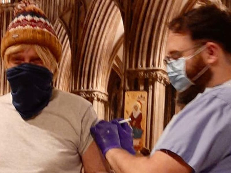 Michael Fabricant MP receiving his coronavirus jab at Lichfield Cathedral