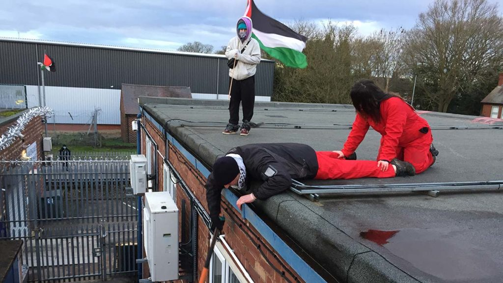 Palestine Action groups on the roof of UAV Engines in Shenstone