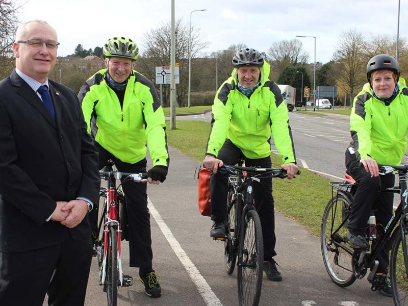 Cllr David Williams with cyclists Keith Powell, Trevor Craven and Rosie Hunt
