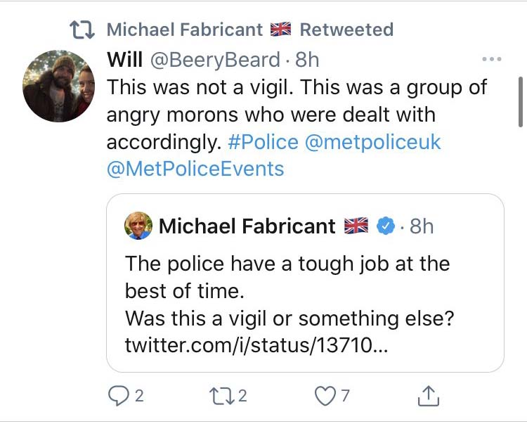 A screenshot from Michael Fabricant's twitter account