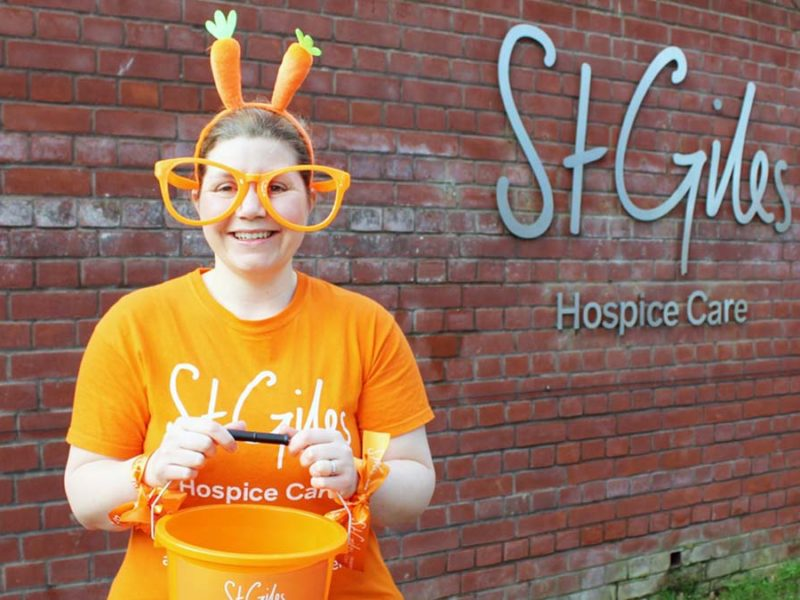 St Giles Hospice healthcare assistant Amy Foster getting ready for Orange April