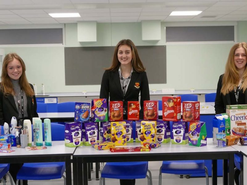 Nether Stowe pupils with some of the donated items