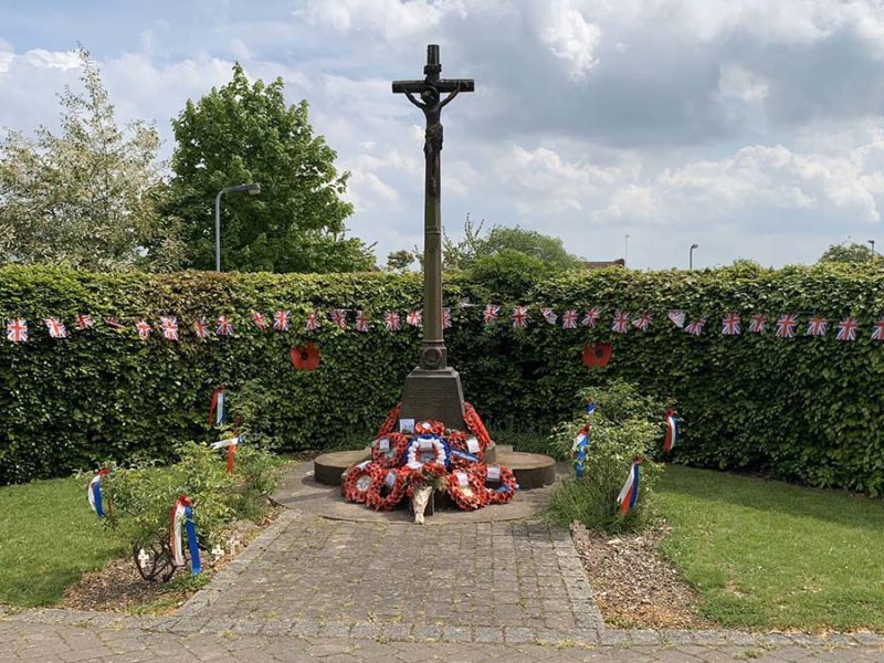 The war memorial in Armitage during the VE Day anniversary commemorations