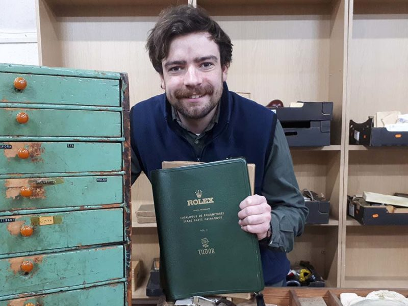 Ben Winterton with some of the items going up for auction in Lichfield