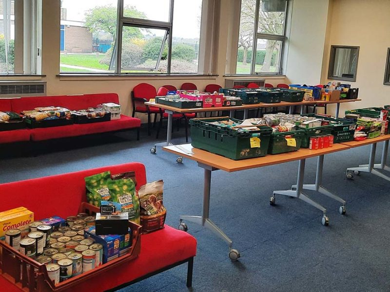 Items waiting to be distributed from the foodbank at Chase Terrace Academy