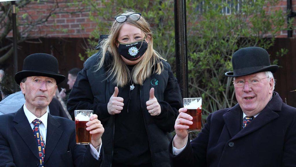 Nick Sedgwick and Colin Ablitt visiting the Duke of York pub