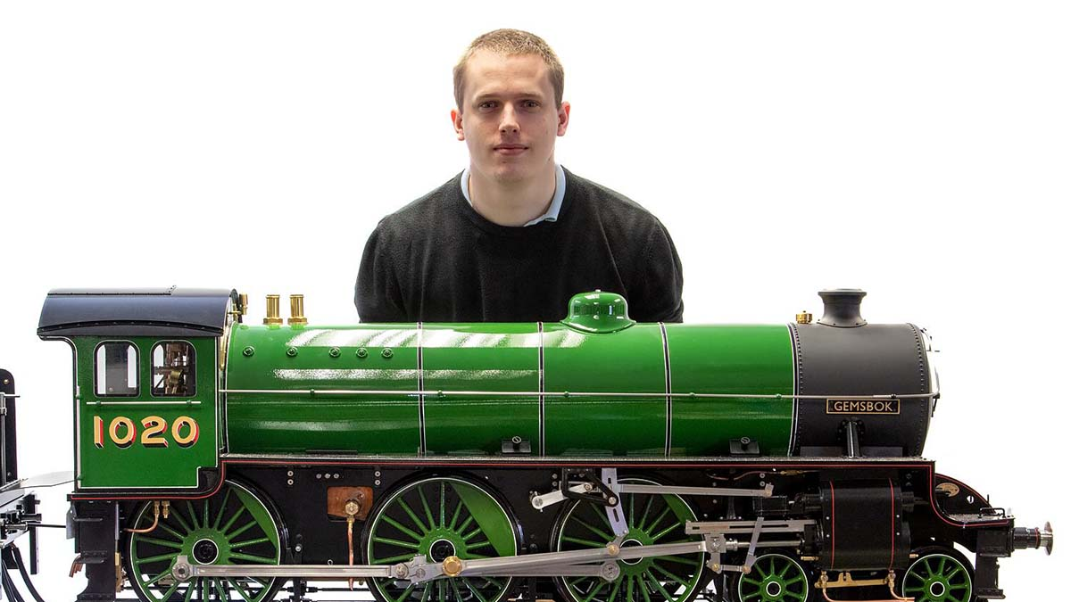 David Wilson-Turner with the model loco. Picture: Mark Laban/Hansons