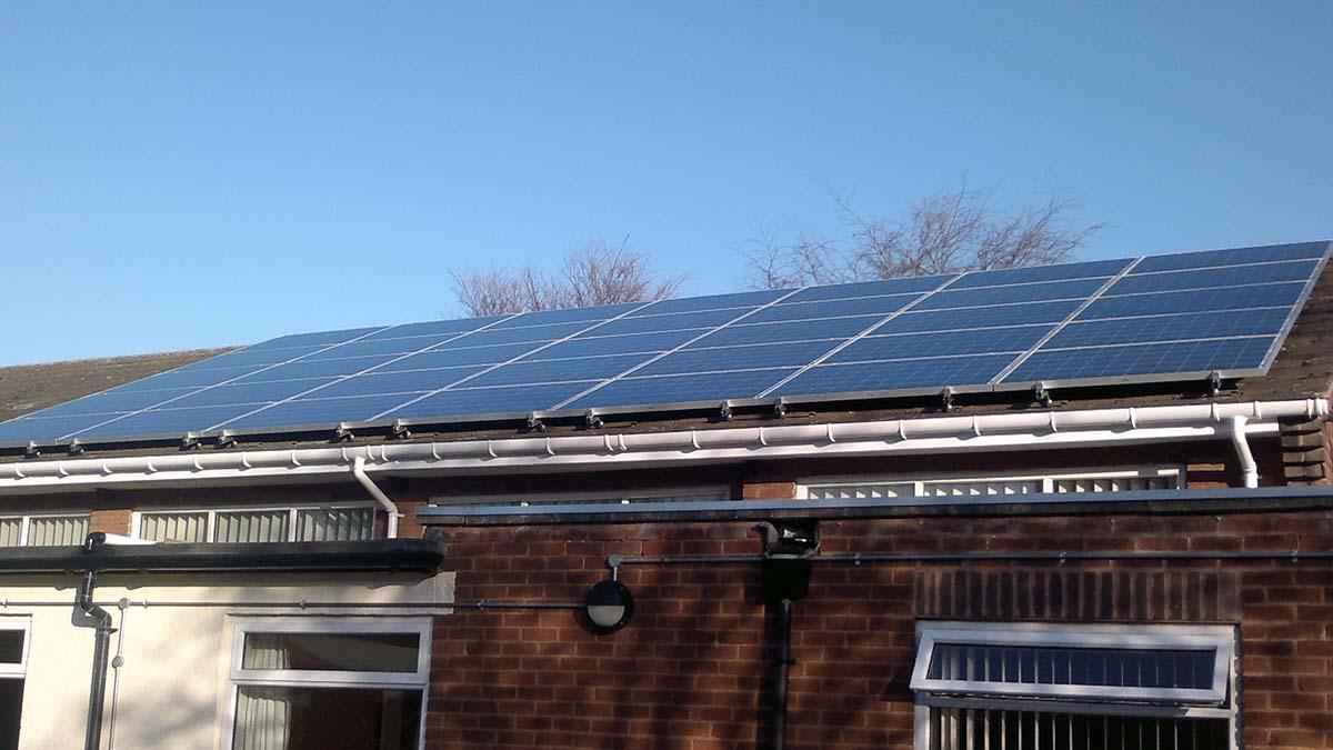 Solar panels on Whittington Village Hall