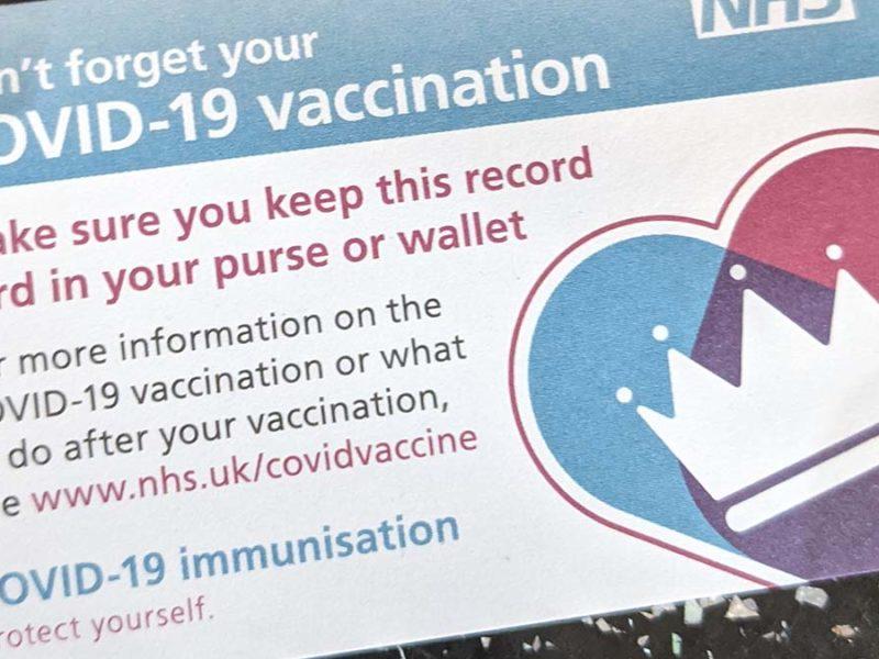 Coronavirus vaccination card