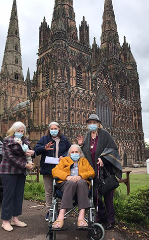 Residents from The Spires outside Lichfield Cathedral