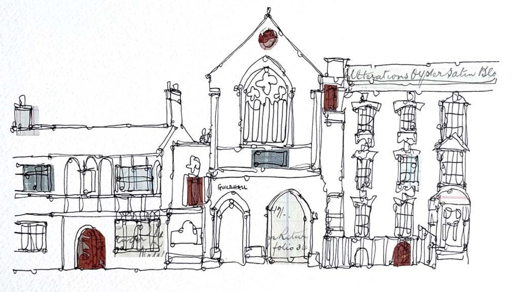 Ruth Allen's drawing of the Guildhall