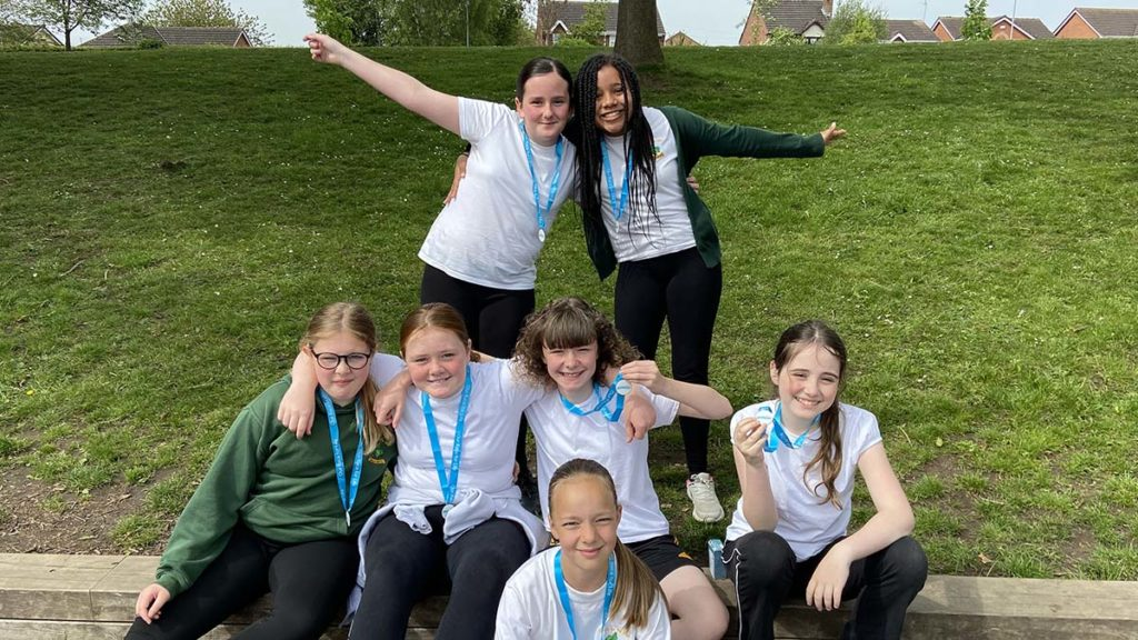 Some of the Holly Grove pupils who took part in the fundraising run