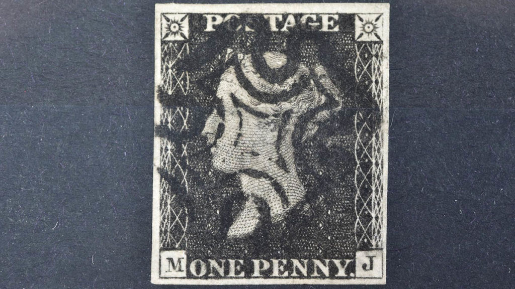 The 11 plate Penny Black stamp. Picture: Richard Winterton Auctioneers