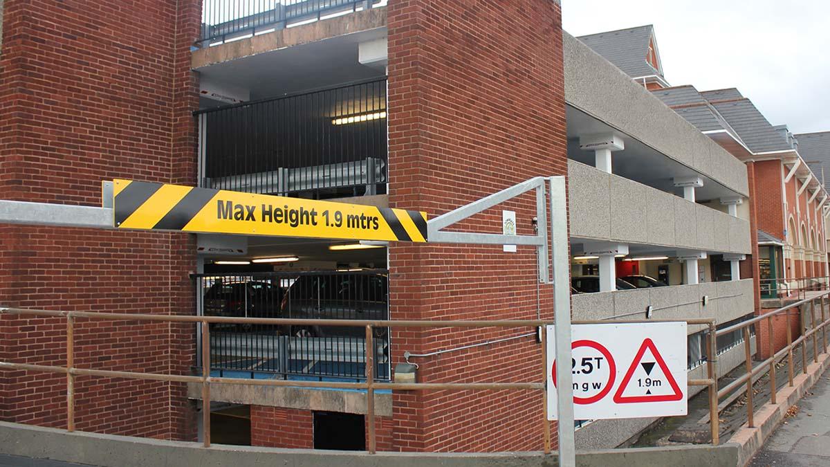 The multi-storey car park on Birmingham Road
