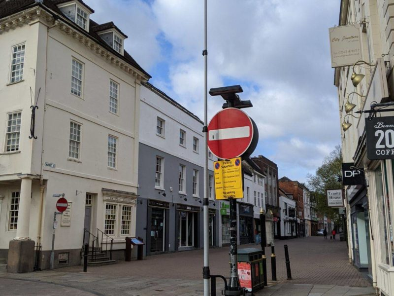 One of the cameras installed in Lichfield city centre