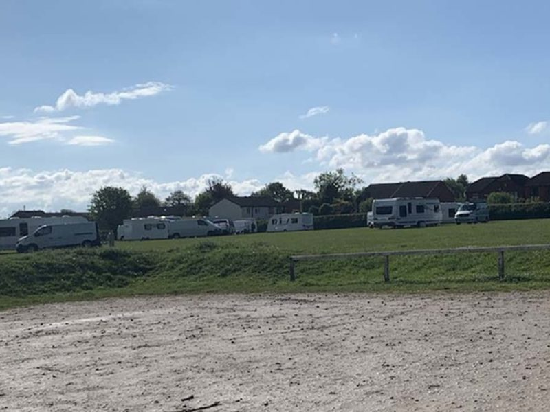 Caravans parked up at Stychbrook Park