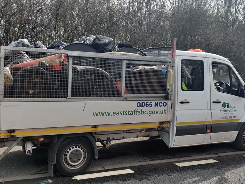 A van full of rubbish collected from verges on the A38