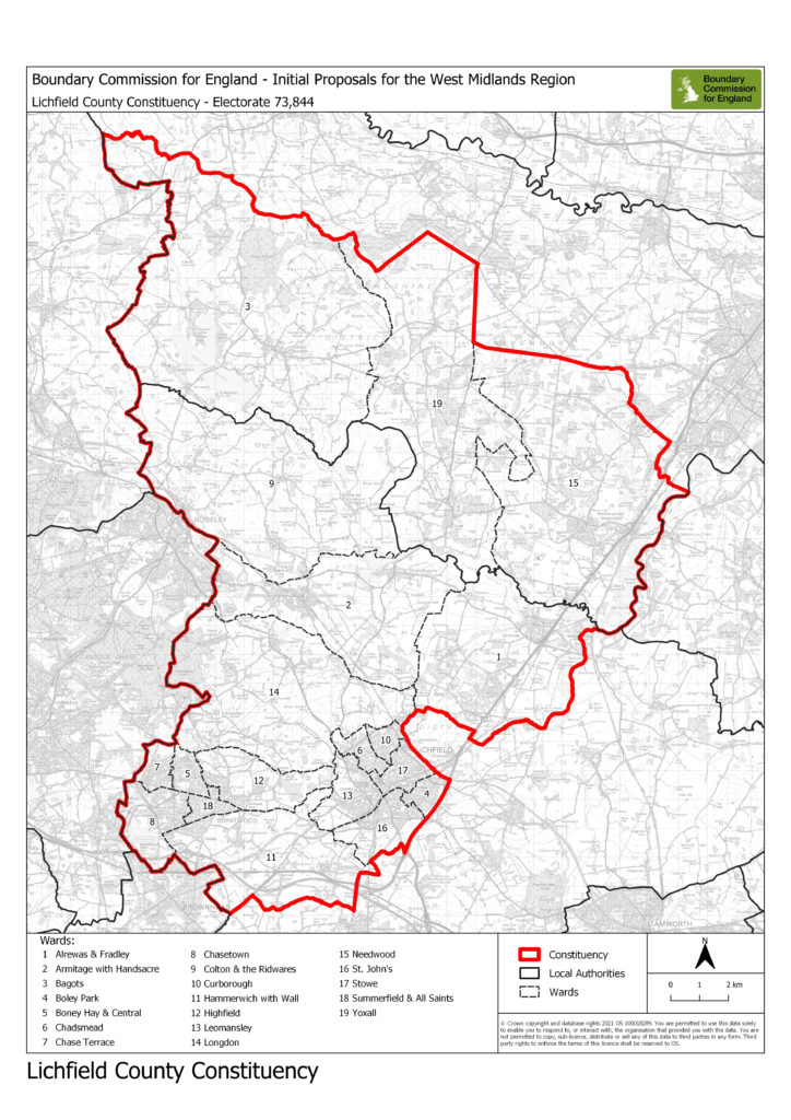 The proposed Lichfield constituency map
