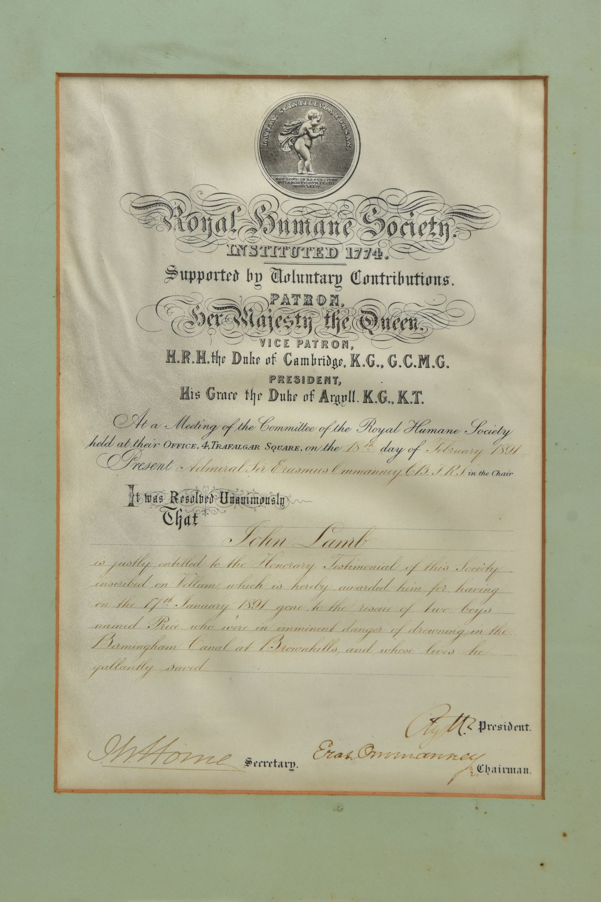 The certificate issued to John Lamb