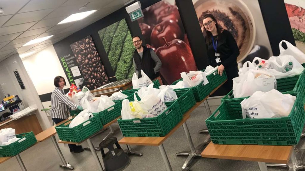 Shopping being bagged up for vulnerable residents
