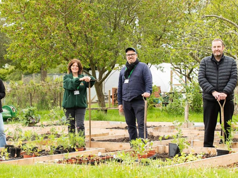 Central England Co-op Member and Community Council member Andrea Rudge, Central England Co-op Store Manager Nigel Smith and Grey Lindley and Donna Holmes from Groundworks