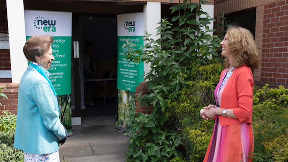 Emma Tennant, Victim Support's communications officer for New Era welcoming HRH The Princess Royal