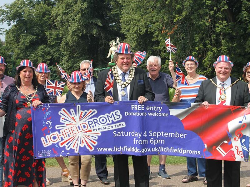 Sponsors and civic leaders at the launch of the 2021 Lichfield Proms in Beacon Park