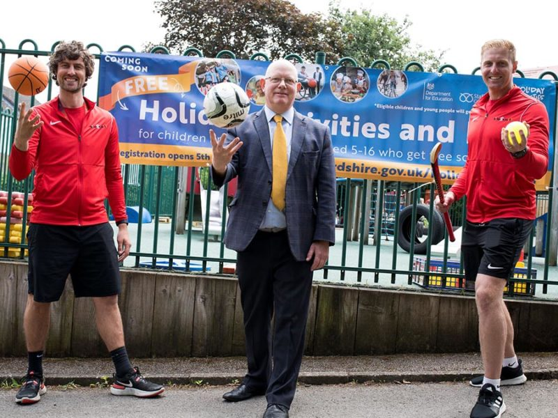 Cllr Mark Sutton (centre) with Wayne Glover and Matt Kelter from Time 4 Sport