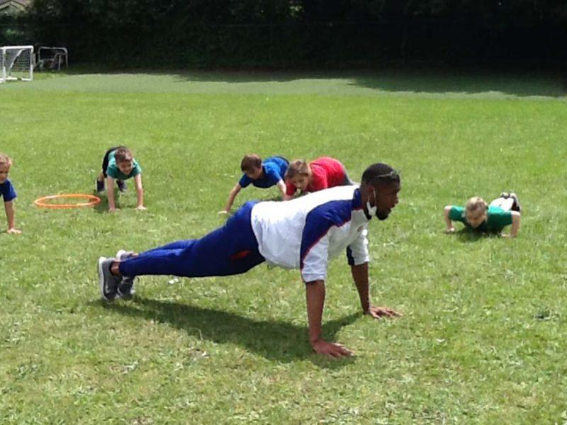 Feron Sayers leading a PE session