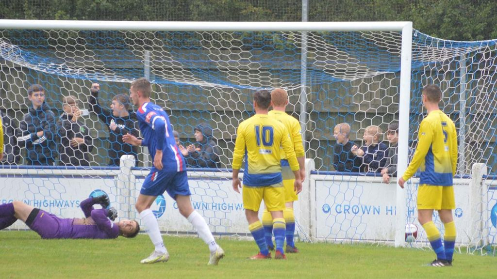 Chasetown open the scoring against Uttoxeter Town. Picture: Louise Yates