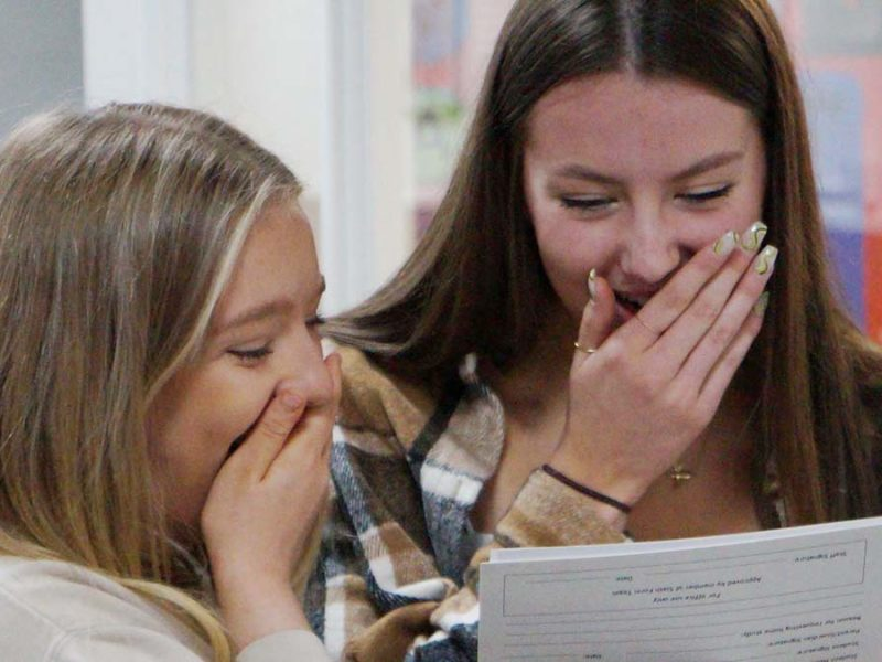 Students at The Friary School receiving their GCSE results