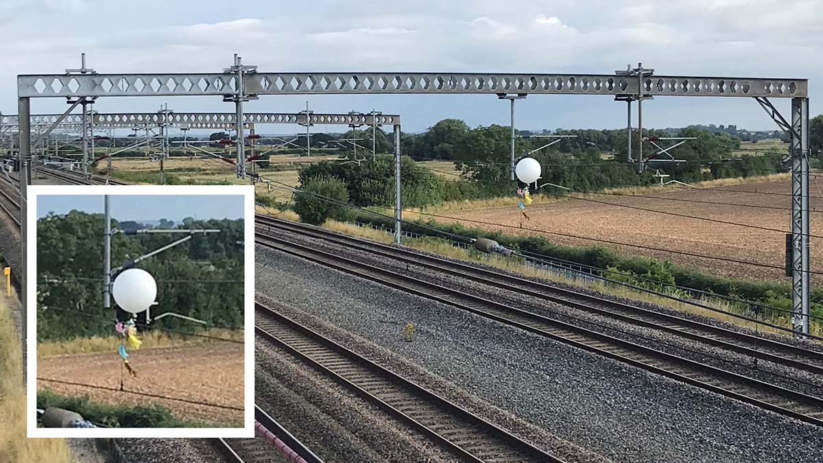 The balloon caught in overhead cables on the West Coast Main Line