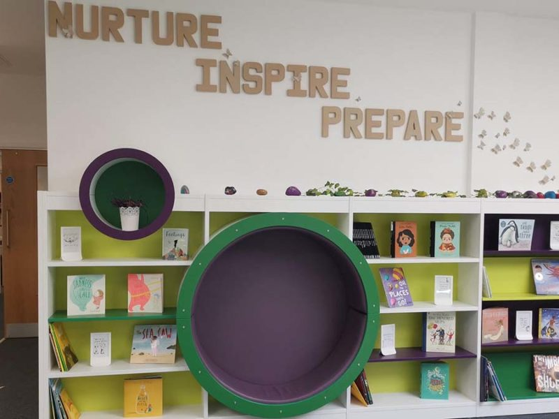 Part of the reading area at Streethay Primary School
