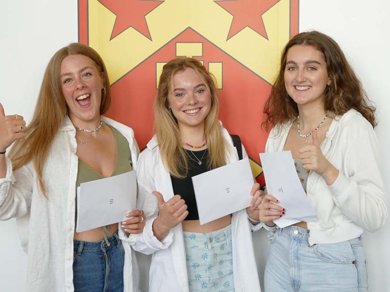 Sophie Forbes, Ellie Sanders and Lowri Simmons celebrate their A Level results